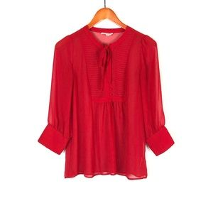Joie Red Blouse Buttons Pleats Small